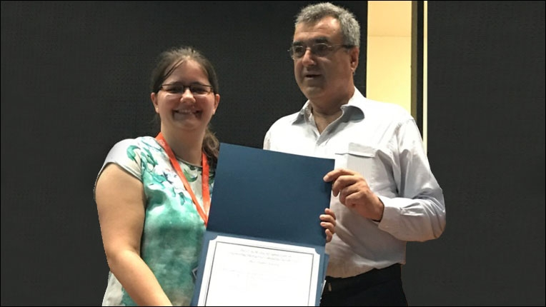 ACM Europe Council Executive Committee member Joaquim Jorge congratulating Best Student Paper award co-recipient Miriam Greis at ACM EICS 2017 in Lisbon.