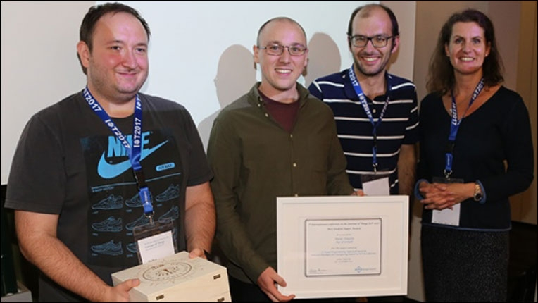 At the conference dinner held on 24 October in the VOEST Alpine Guest House, Matus Tomlein (center, holding certificate) was honored by PC-Chairs Stefan Schneegass (left) and Simon Mayr (right). The award certificate and the famous